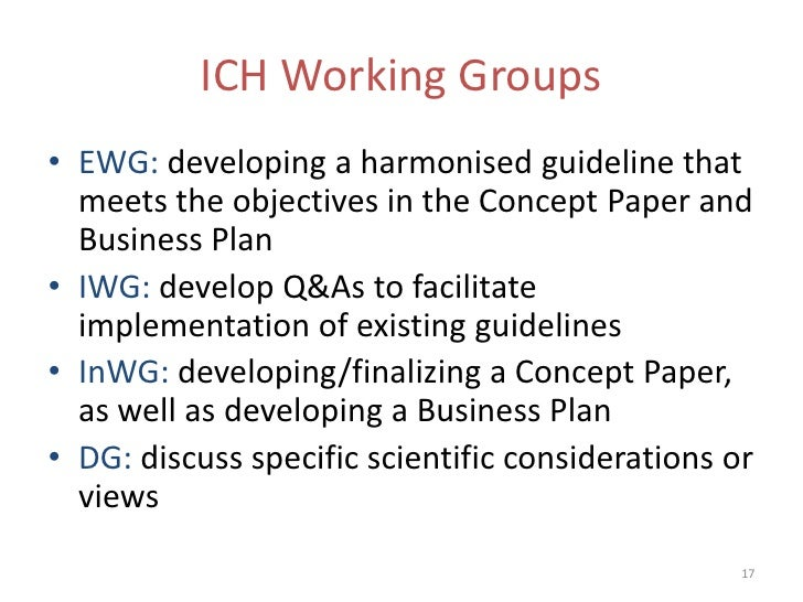 ICH Working Groups• EWG: developing a harmonised guideline that  meets the objectives in the Concept Paper and  Business P...