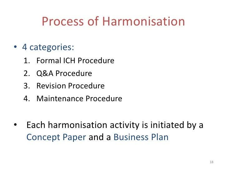 Process of Harmonisation• 4 categories:  1.   Formal ICH Procedure  2.   Q&A Procedure  3.   Revision Procedure  4.   Main...