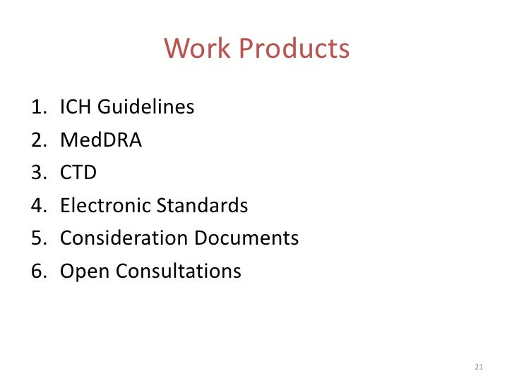 Work Products1.   ICH Guidelines2.   MedDRA3.   CTD4.   Electronic Standards5.   Consideration Documents6.   Open Consulta...