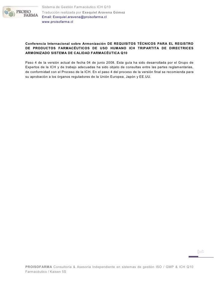 Sistema de Gestión Farmacéutico ICH Q10          Traducción realizada por Exequiel Aravena Gómez          Email: Exequiel....