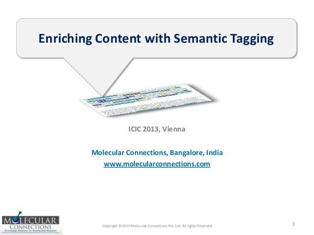 Copyright ©2013 Molecular Connections Pvt. Ltd. All rights Reserved 1 Enriching Content with Semantic Tagging Molecular Co...