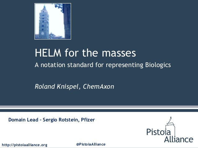 HELM for the masses A notation standard for representing Biologics Roland Knispel, ChemAxon  Domain Lead – Sergio Rotstein...