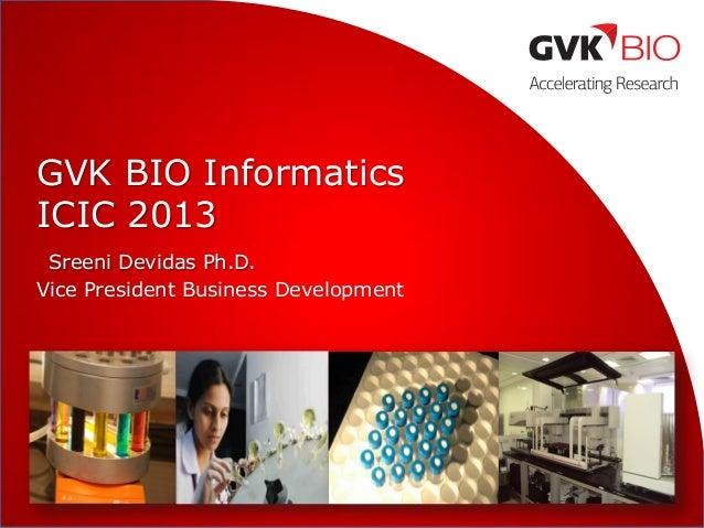 GVK BIO Informatics ICIC 2013 Sreeni Devidas Ph.D. Vice President Business Development