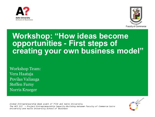 """Faculty of Commerce  Workshop: """"How ideas become  opportunities - First steps of  creating your own business model""""Worksho..."""