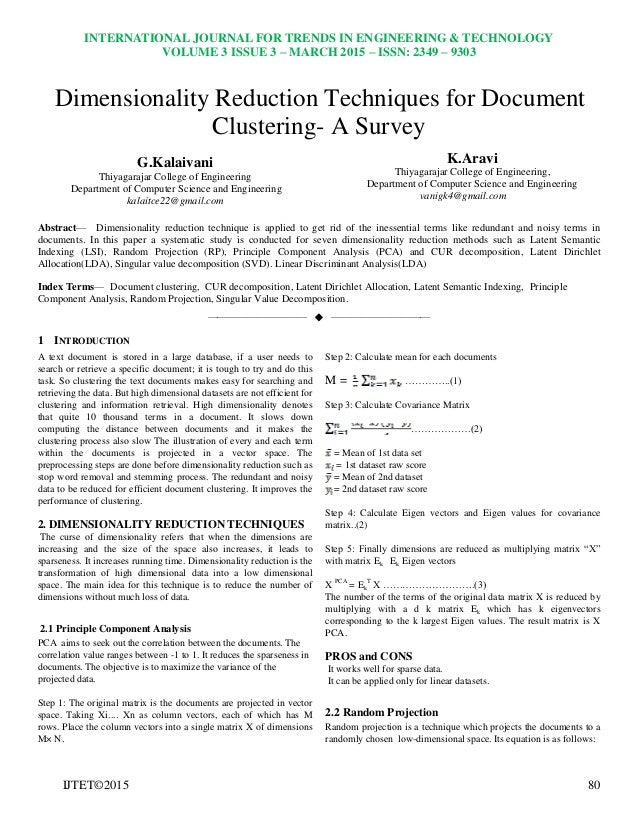 Dimensionality reduction techniques for document clustering a survey publicscrutiny Image collections