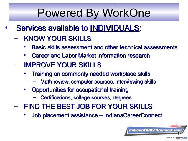 Powered By WorkOne • Services available toServices available to INDIVIDUALSINDIVIDUALS:: – KNOW YOUR SKILLSKNOW YOUR SKILL...