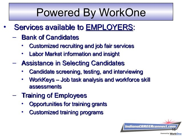 Powered By WorkOne • Services available toServices available to EMPLOYERSEMPLOYERS:: – Bank of CandidatesBank of Candidate...