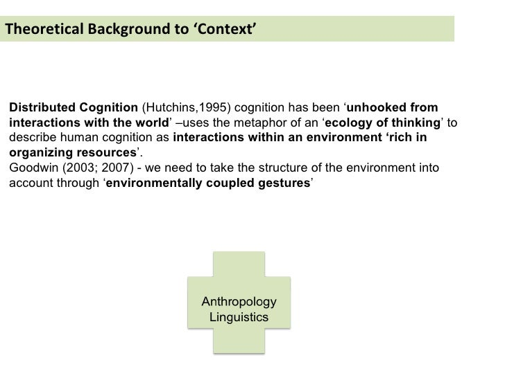 Theoretical Background to 'Context' Distributed Cognition  (Hutchins,1995) cognition has been ' unhooked from interactions...