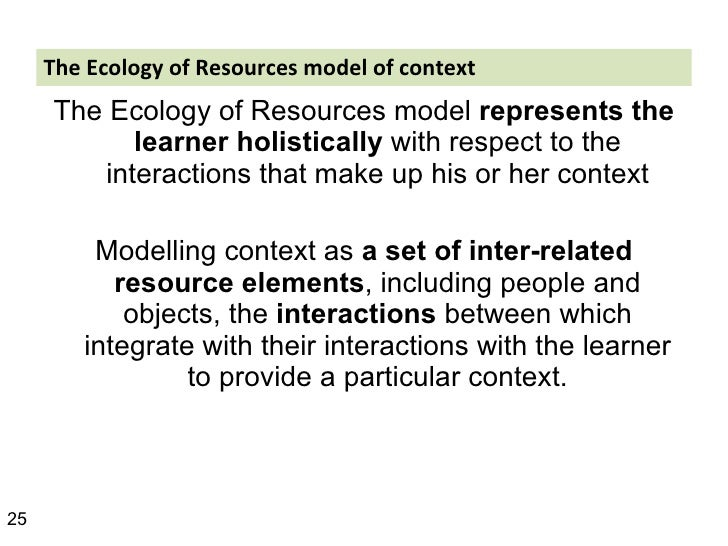 The Ecology of Resources model of context <ul><li>The Ecology of Resources model  represents the learner   holistically  w...