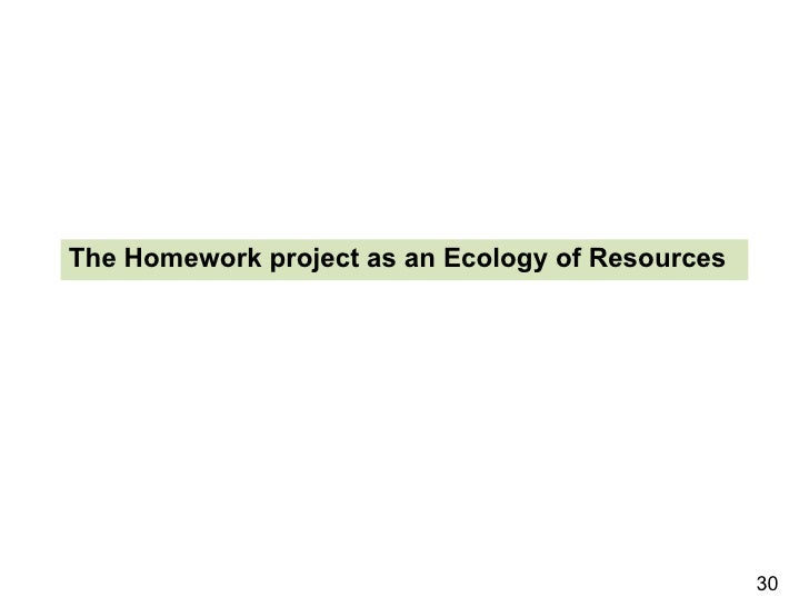 The Homework project as an Ecology of Resources 30