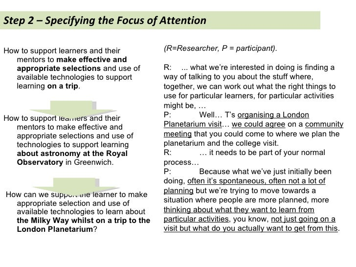Step 2 – Specifying the Focus of Attention  <ul><li>How to support learners and their mentors to  make effective and appro...