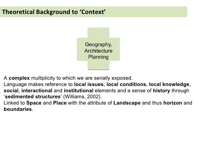 Theoretical Background to 'Context' A  complex  multiplicity to which we are serially exposed.  Language makes reference t...