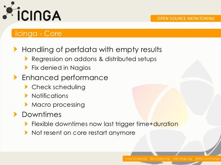 OPEN SOURCE MONITORINGIcinga - Core Handling of perfdata with empty results    Regression on addons & distributed setups  ...