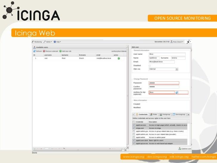 OPEN SOURCE MONITORINGIcinga Web             www.icinga.org | doc.icinga.org | wiki.icinga.org | twitter.com/icinga