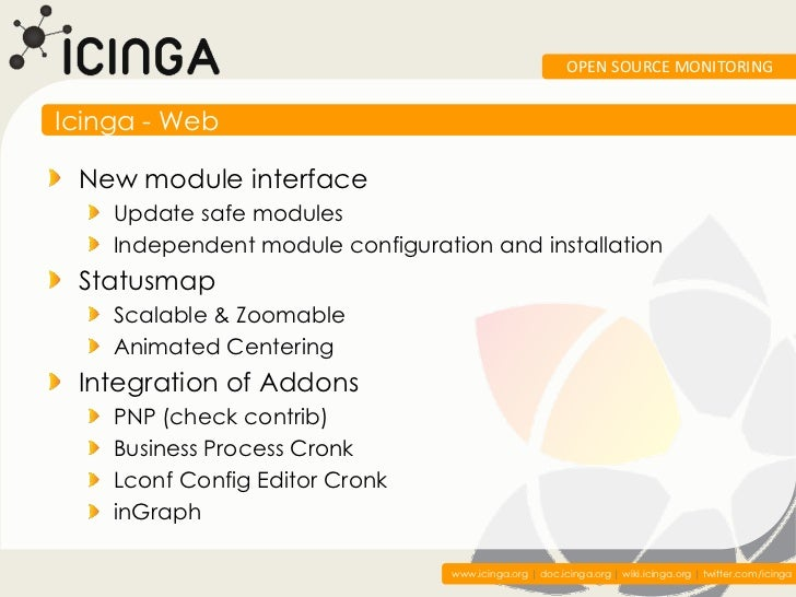 OPEN SOURCE MONITORINGIcinga - Web New module interface    Update safe modules    Independent module configuration and ins...