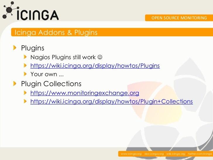 OPEN SOURCE MONITORINGIcinga Addons & Plugins Plugins    Nagios Plugins still work     https://wiki.icinga.org/display/ho...