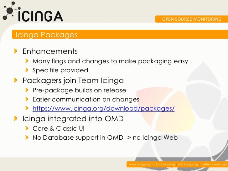 OPEN SOURCE MONITORINGIcinga Packages Enhancements    Many flags and changes to make packaging easy    Spec file provided ...