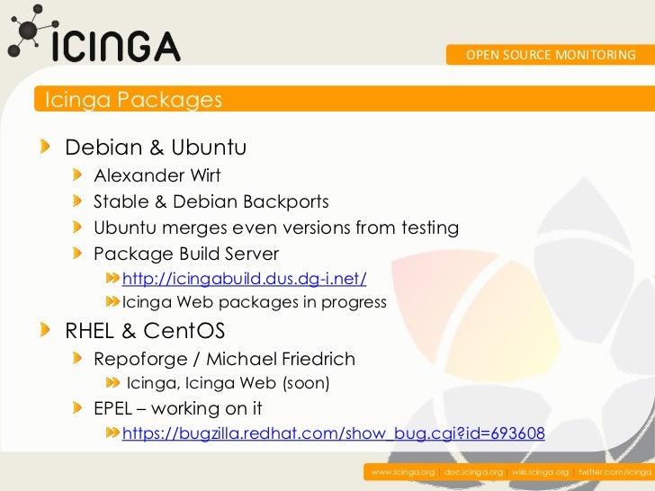 OPEN SOURCE MONITORINGIcinga Packages Debian & Ubuntu    Alexander Wirt    Stable & Debian Backports    Ubuntu merges even...