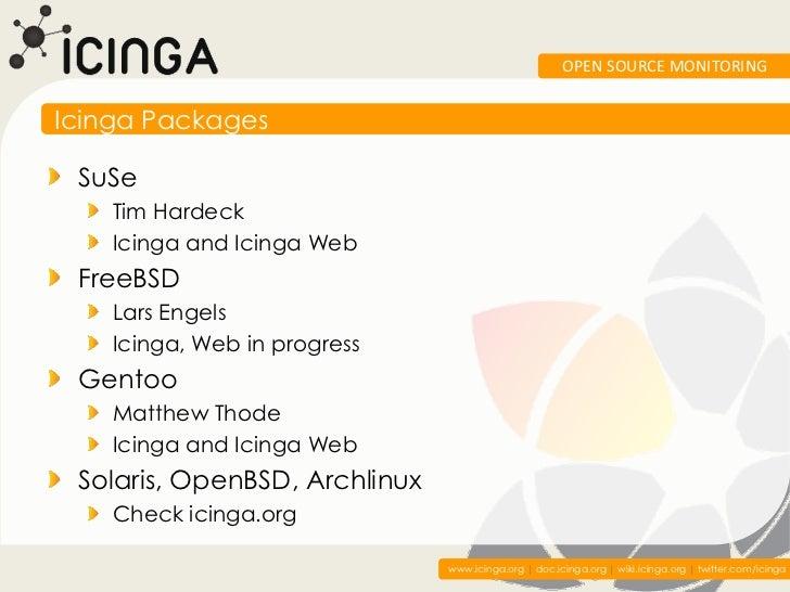OPEN SOURCE MONITORINGIcinga Packages SuSe    Tim Hardeck    Icinga and Icinga Web FreeBSD    Lars Engels    Icinga, Web i...