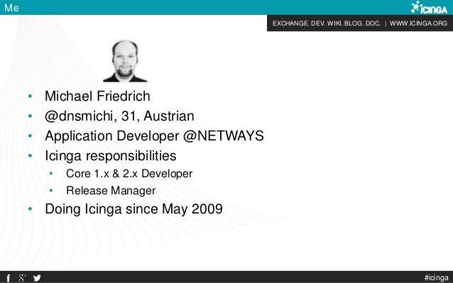 EXCHANGE. DEV. WIKI. BLOG. DOC.   WWW.ICINGA.ORG #icinga Me • Michael Friedrich • @dnsmichi, 31, Austrian • Application De...