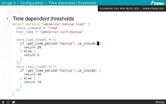 EXCHANGE. DEV. WIKI. BLOG. DOC.   WWW.ICINGA.ORG #icinga Icinga 2 – Configuration – Time dependent thresholds • Time depen...