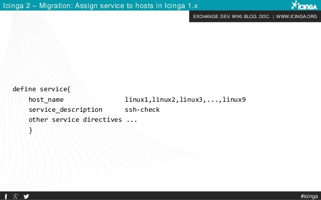 EXCHANGE. DEV. WIKI. BLOG. DOC.   WWW.ICINGA.ORG Icinga 2 – Migration: Assign service to hosts in Icinga 1.x define servic...
