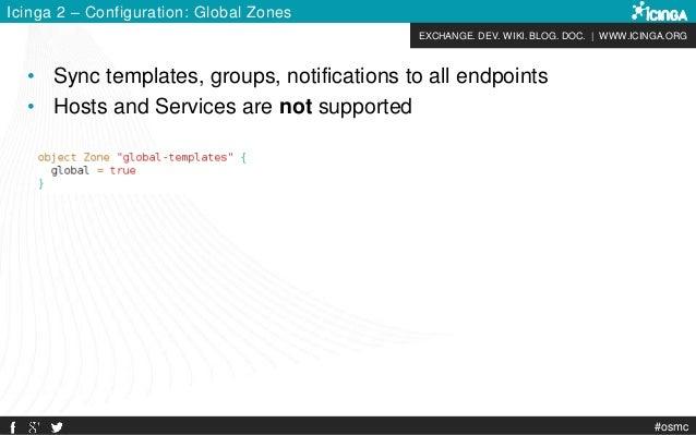 EXCHANGE. DEV. WIKI. BLOG. DOC. | WWW.ICINGA.ORG #osmc Icinga 2 – Configuration: Global Zones • Sync templates, groups, no...