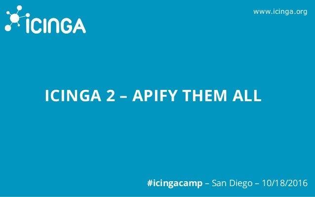 www.icinga.org #icingacamp – San Diego – 10/18/2016 ICINGA 2 – APIFY THEM ALL