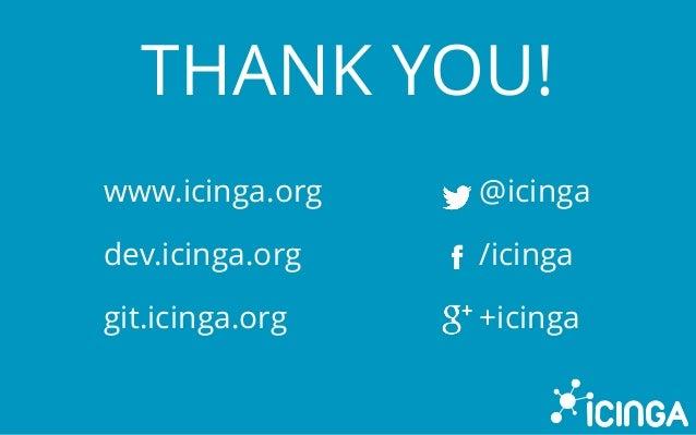 THANK YOU! www.icinga.org dev.icinga.org git.icinga.org @icinga /icinga +icinga