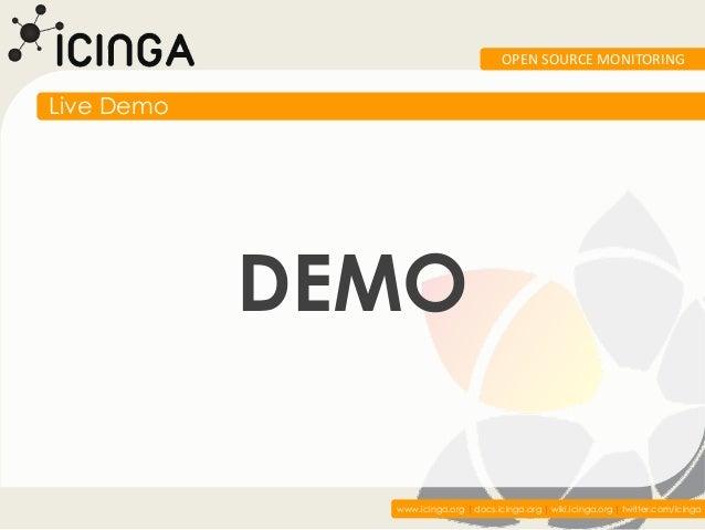 OPEN SOURCE MONITORINGLive Demo            DEMO              www.icinga.org   docs.icinga.org   wiki.icinga.org   twitter....