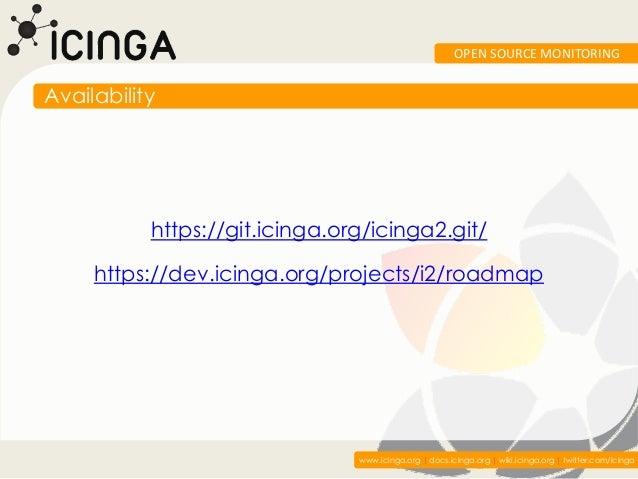 OPEN SOURCE MONITORINGAvailability           https://git.icinga.org/icinga2.git/     https://dev.icinga.org/projects/i2/ro...