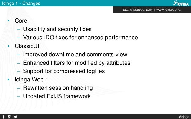 DEV. WIKI. BLOG. DOC.   WWW.ICINGA.ORG #icinga Icinga 1 - Changes • Core – Usability and security fixes – Various IDO fixe...