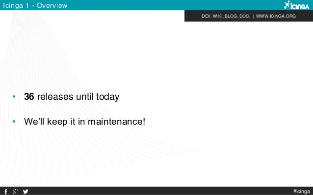DEV. WIKI. BLOG. DOC.   WWW.ICINGA.ORG #icinga Icinga 1 - Overview • 36 releases until today • We'll keep it in maintenanc...