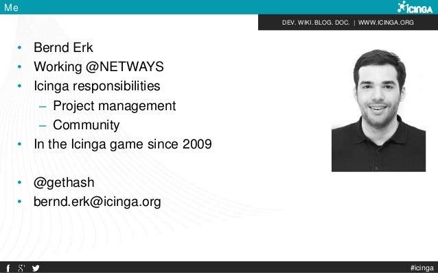 DEV. WIKI. BLOG. DOC.   WWW.ICINGA.ORG #icinga Me • Bernd Erk • Working @NETWAYS • Icinga responsibilities – Project manag...