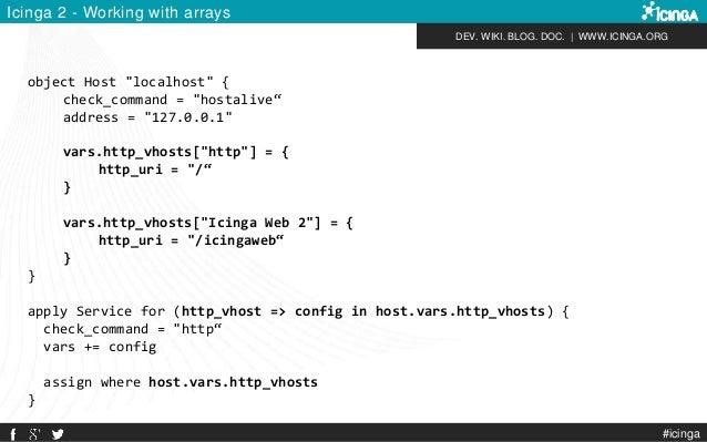 "DEV. WIKI. BLOG. DOC.   WWW.ICINGA.ORG Icinga 2 - Working with arrays object Host ""localhost"" { check_command = ""hostalive..."