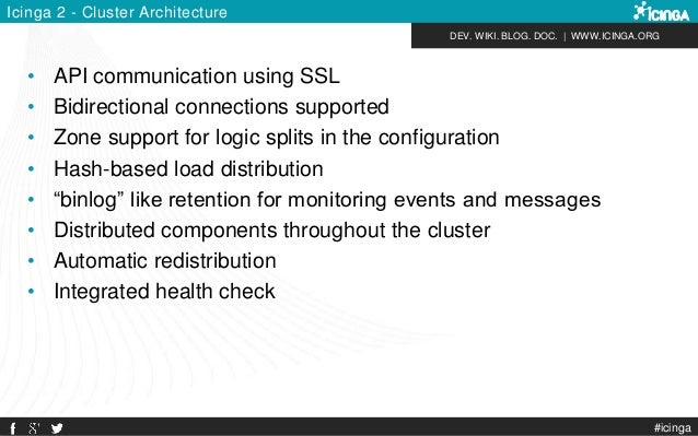 DEV. WIKI. BLOG. DOC.   WWW.ICINGA.ORG Icinga 2 - Cluster Architecture • API communication using SSL • Bidirectional conne...