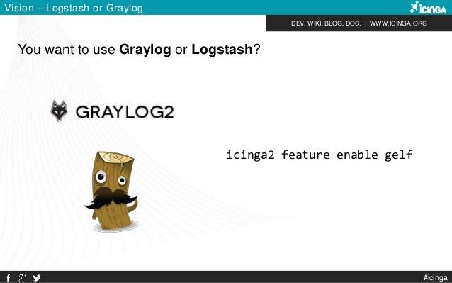 DEV. WIKI. BLOG. DOC.   WWW.ICINGA.ORG You want to use Graylog or Logstash? Vision – Logstash or Graylog #icinga icinga2 f...