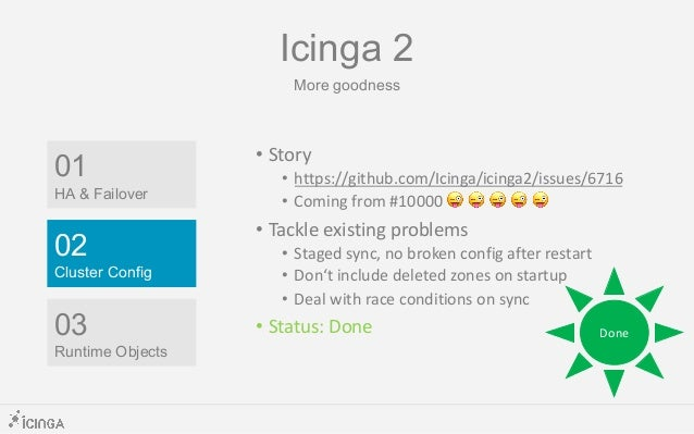 Last Icinga 2.11 Status in CW 30 – RC Week minute • Reload handling broken • Systemd kills process groups after reload/sto...
