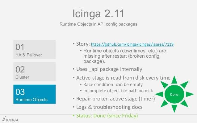 Docs Icinga 2.11 Status in CW 30 – RC Week = • Docs: https://icinga.com/docs/icinga2/snapshot/ • Service Monitoring & Plug...