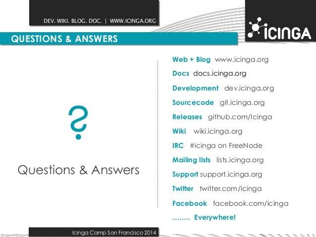 DEV. WIKI. BLOG. DOC.   WWW.ICINGA.ORG  QUESTIONS & ANSWERS  Icinga Camp San Francisco 2014  Web + Blog www.icinga.org  Do...