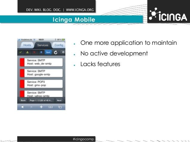 DEV. WIKI. BLOG. DOC.   WWW.ICINGA.ORG  Icinga Mobile  ● One more application to maintain  ● No active development  ● Lack...