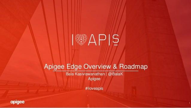 1 Apigee Edge Overview & Roadmap Bala Kasiviswanathan | @BalaK Apigee #iloveapis