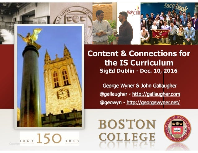 Copyright 2008 Content & Connections for the IS Curriculum SigEd Dublin - Dec. 10, 2016 George Wyner & John Gallaugher @ga...
