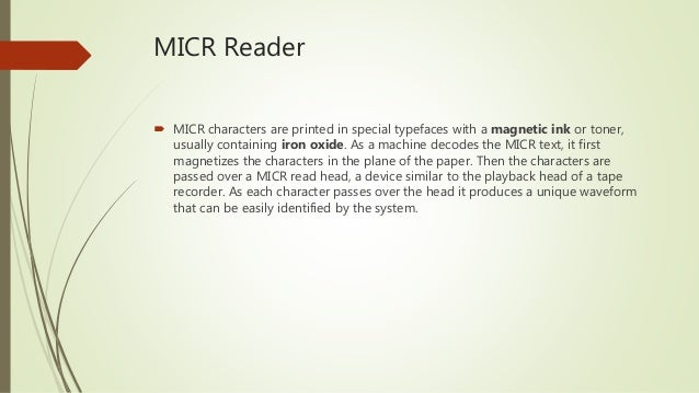 micr magnetic ink character reader