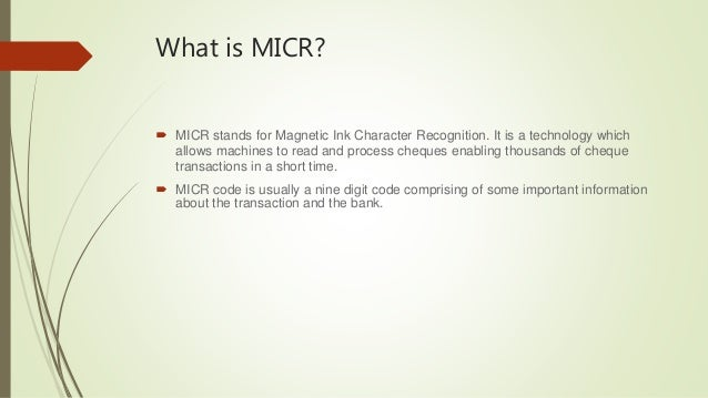 magnetic ink character recognition micr essay Ursc admissions ursc  accepted provided they display an agency bank in the united states and have magnetic ink character recognition (micr)  of purpose or essay.