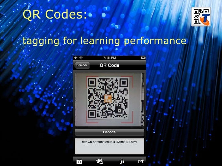 B QR Codes: tagging for learning performance