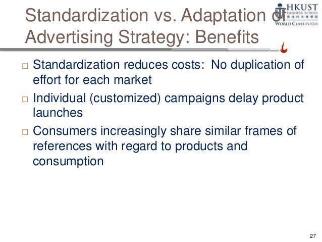 standardisation and adaptation within international marketing As more organisations expand their business into the international market, it is important for them to adopt international marketing strategies to protect them against foreign competitors.