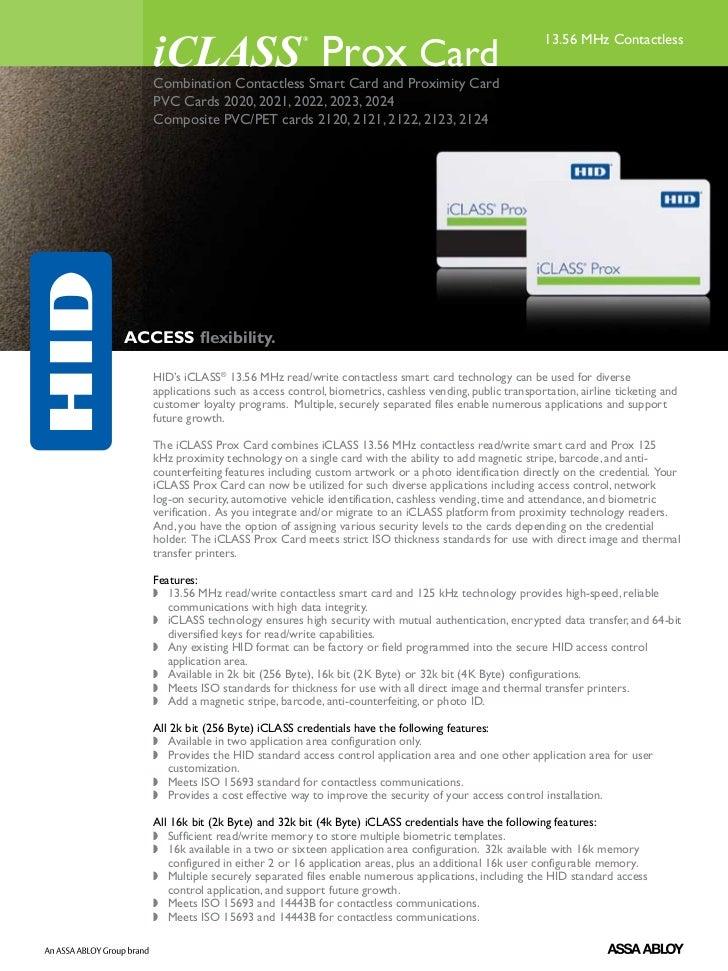 iCLASS Prox Card                                  ®                                                  13.56 MHz Contactless...