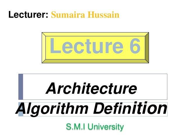 Architecture Algorithm Definition
