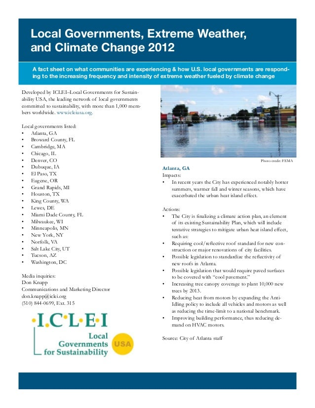 Local Governments, Extreme Weather,   and Climate Change 2012    A fact sheet on what communities are experiencing & how U...